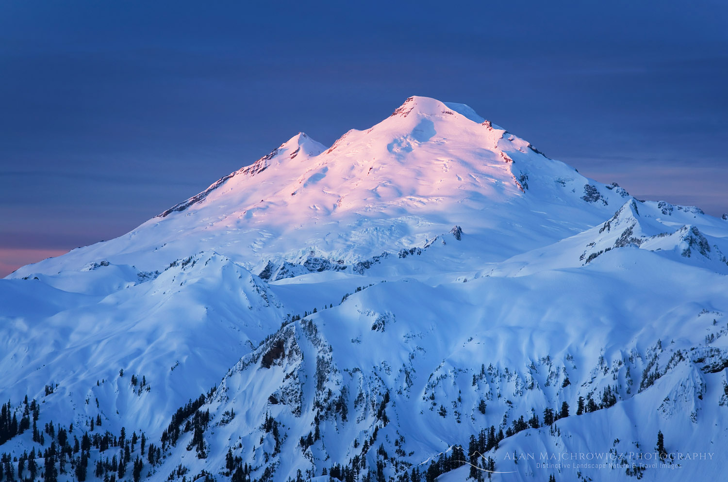 Winter dawn on Mount Baker, North Cascades Washington