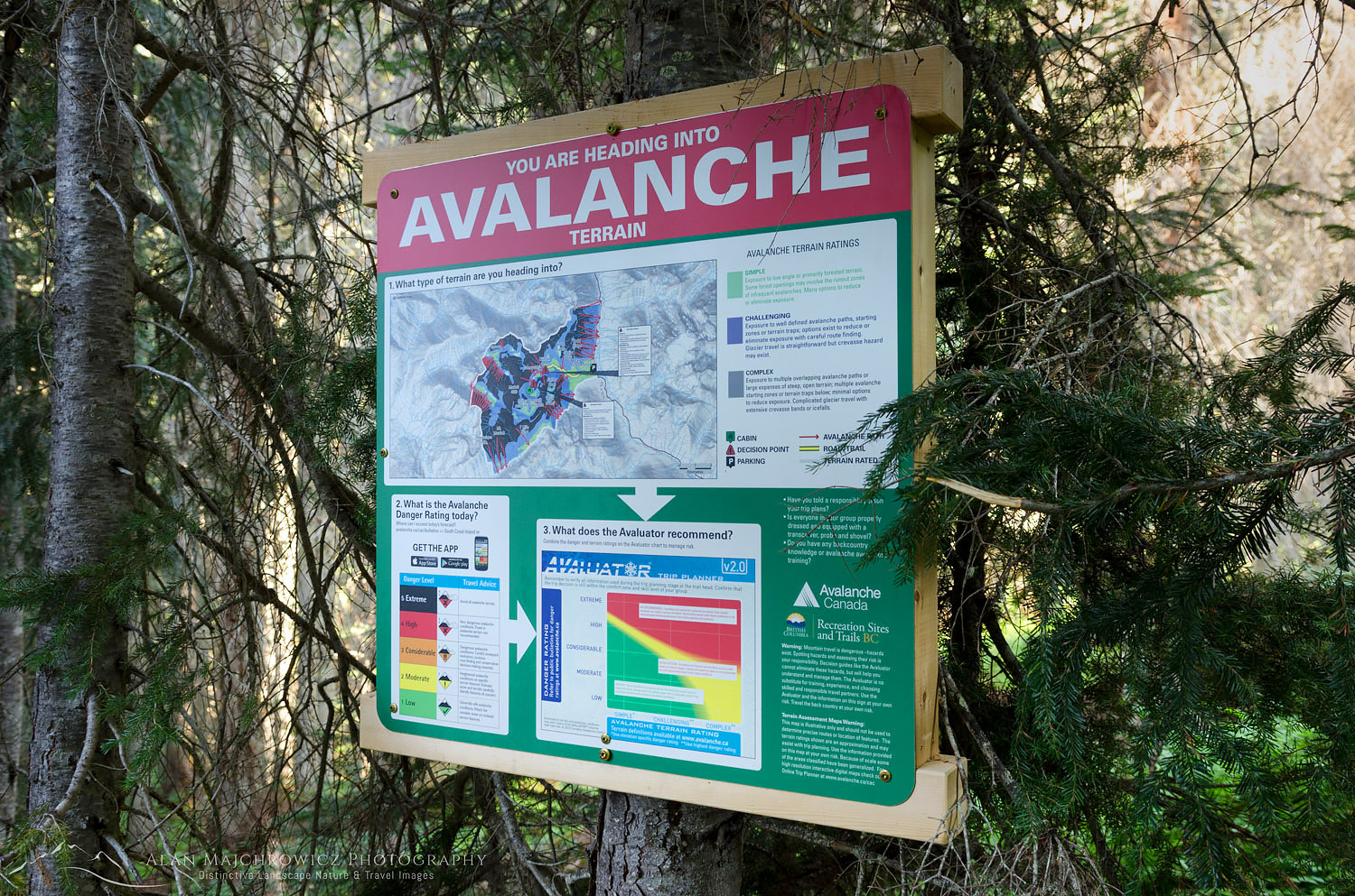 Avalanche warning sign Coast Mountains British Columbia
