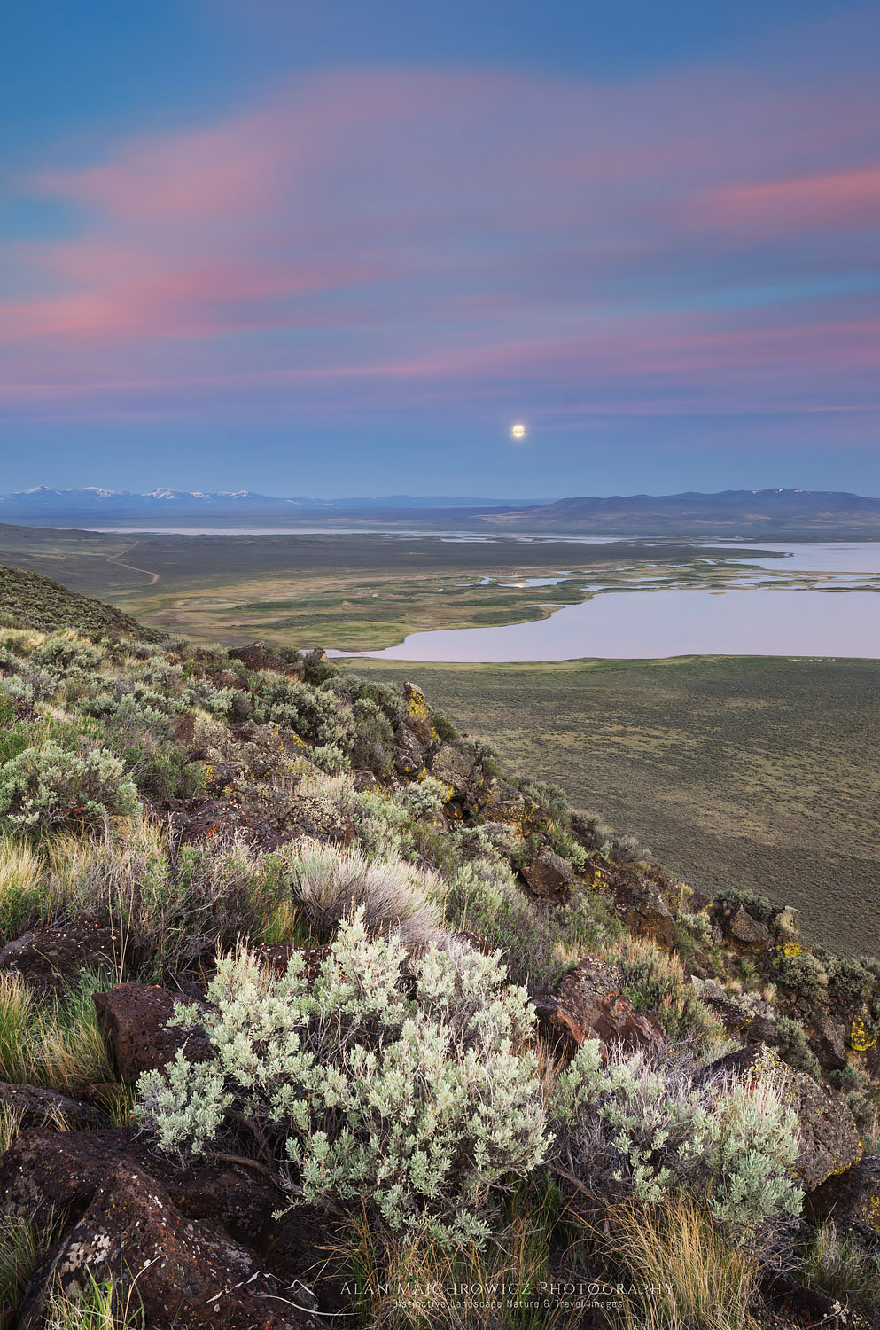 Warner Lakes Wetlands with full moon, Oregon Oregon Desert Photography