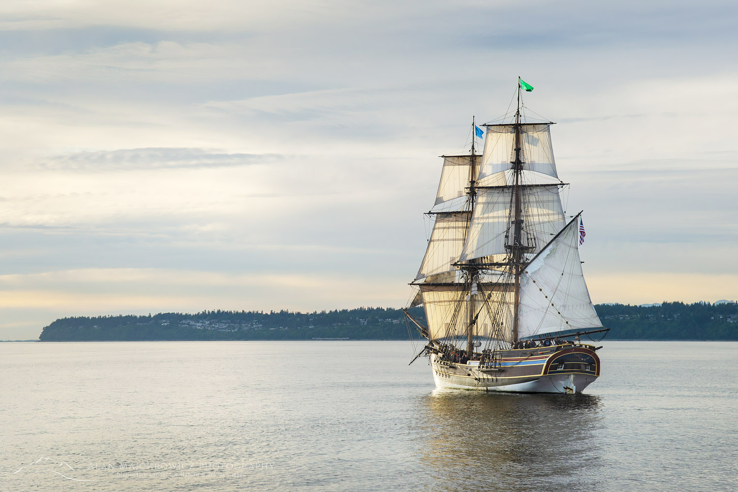 Lady Washington at sail in Semiahmoo Bay, Washington