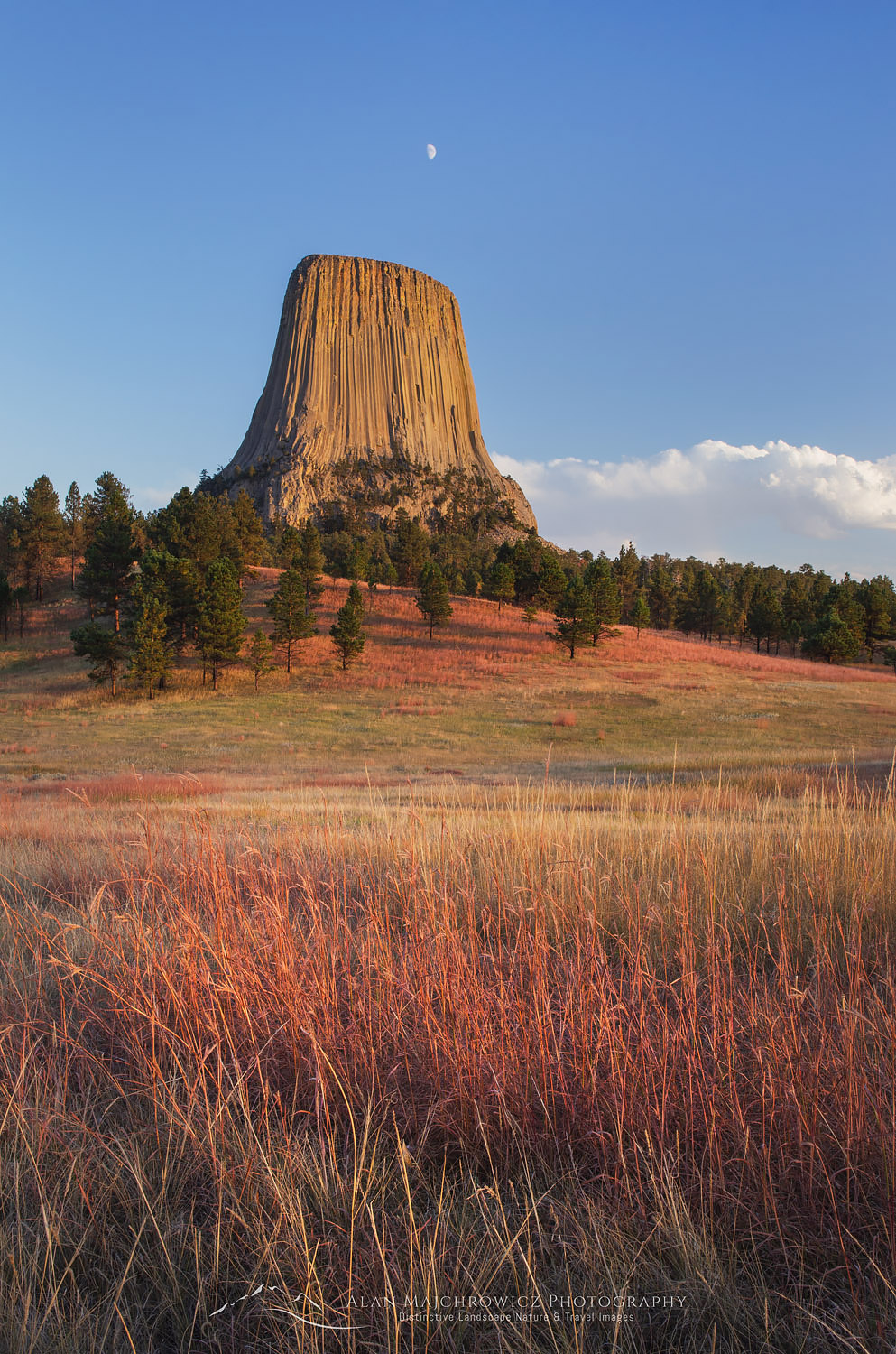 Moon over Devils Tower