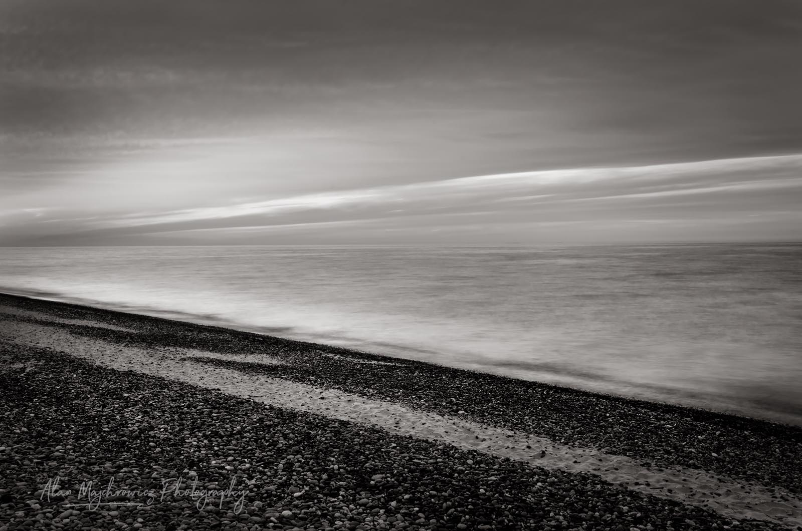 Lake Superior seen from beach at Whitefish Point Upper Peninsula Michigan BW Photo Highlights 2018