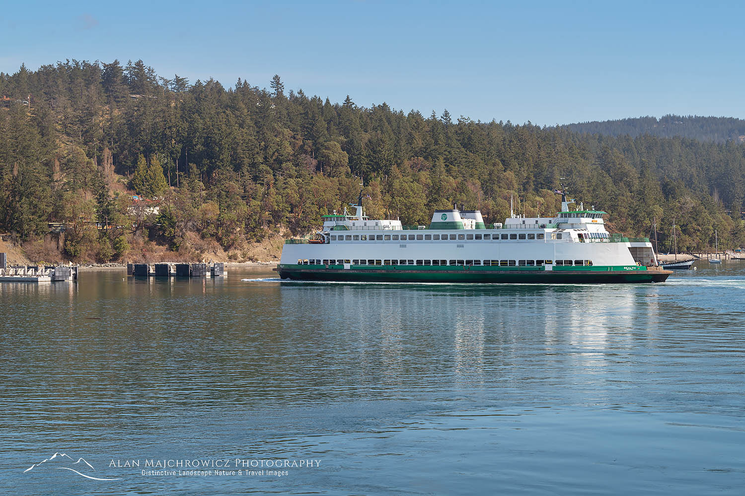 Ferry approaching Orcas Island dock