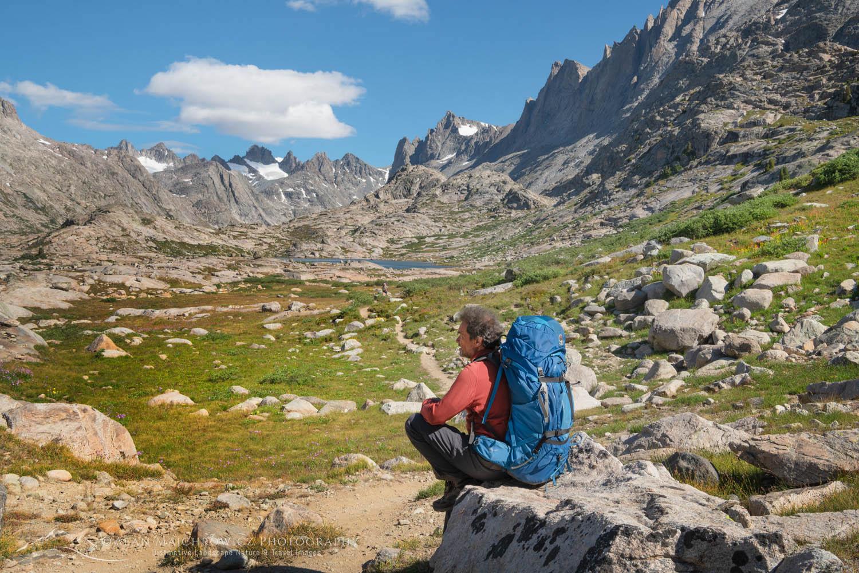 Backpacker on Titcomb Basin Trail Wind River Range Wyoming