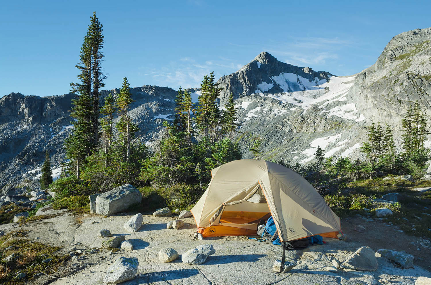 Backcountry camp, upper Marriott Basin, Coast Mountains British Columbia