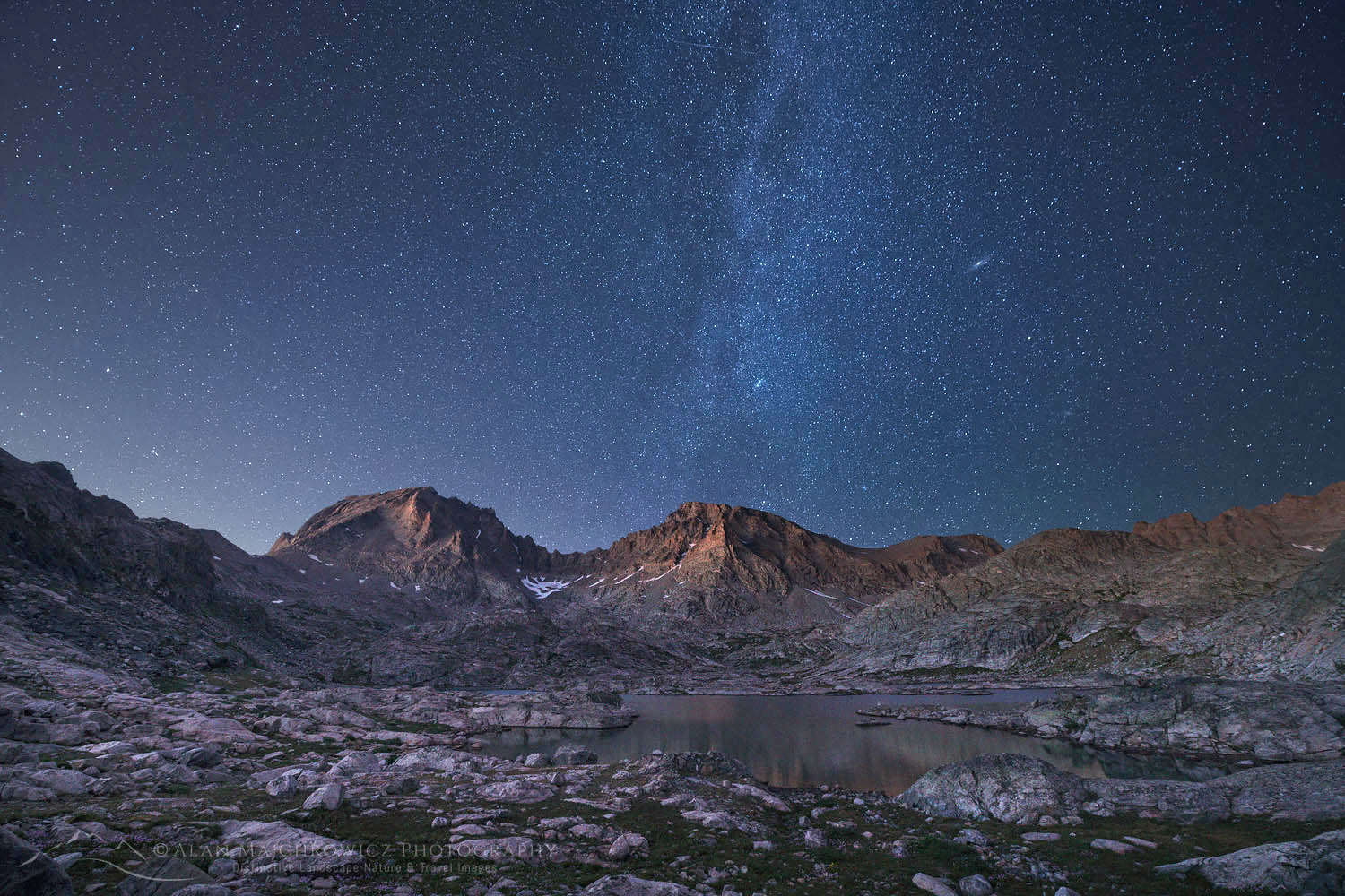 Milky Way over Indian Basin, Fremont and Jackson Peaks are in the distance, Bridger Wilderness, Wind River Range Wyoming