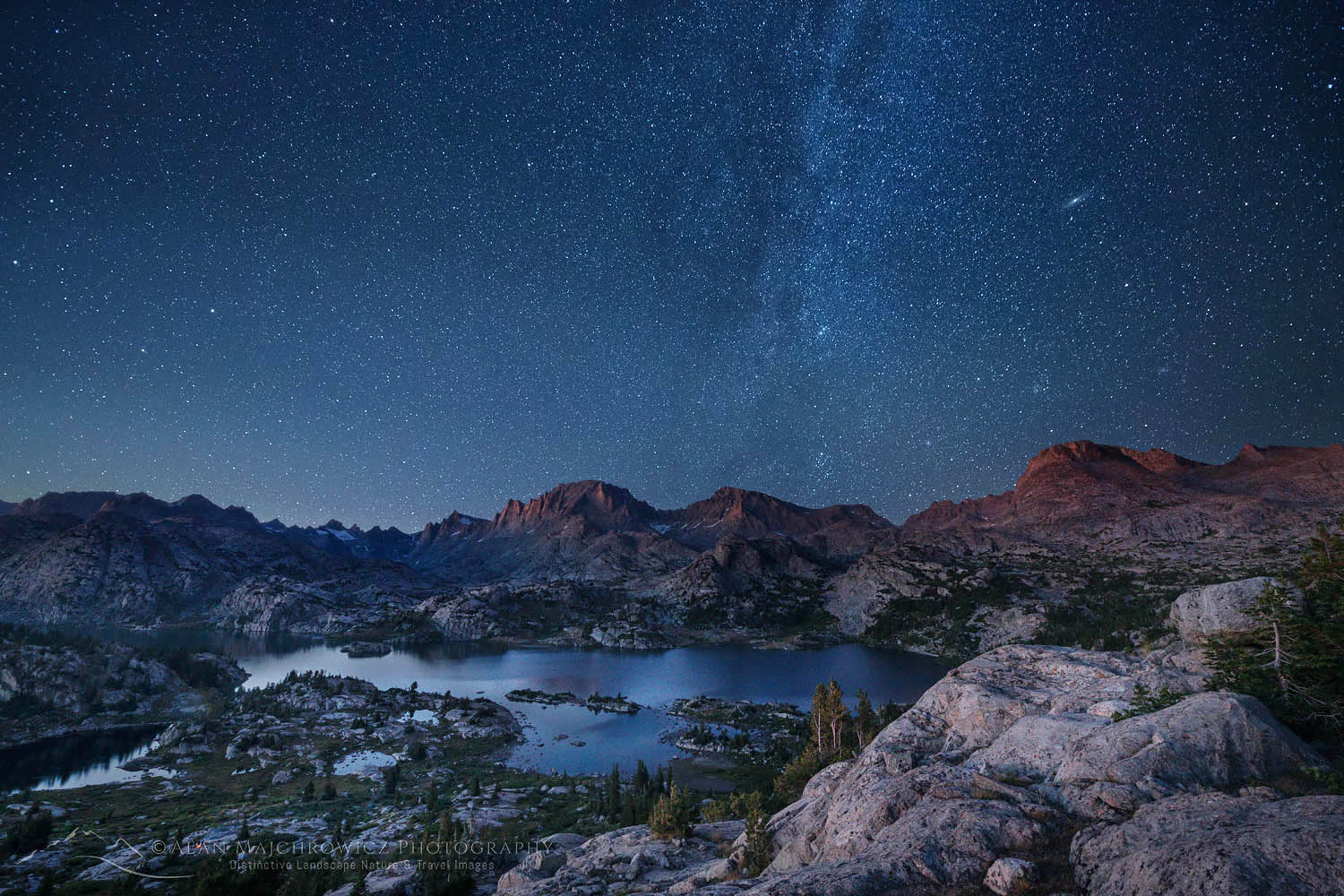Milky way over Island Lake Wind River Range Wyoming