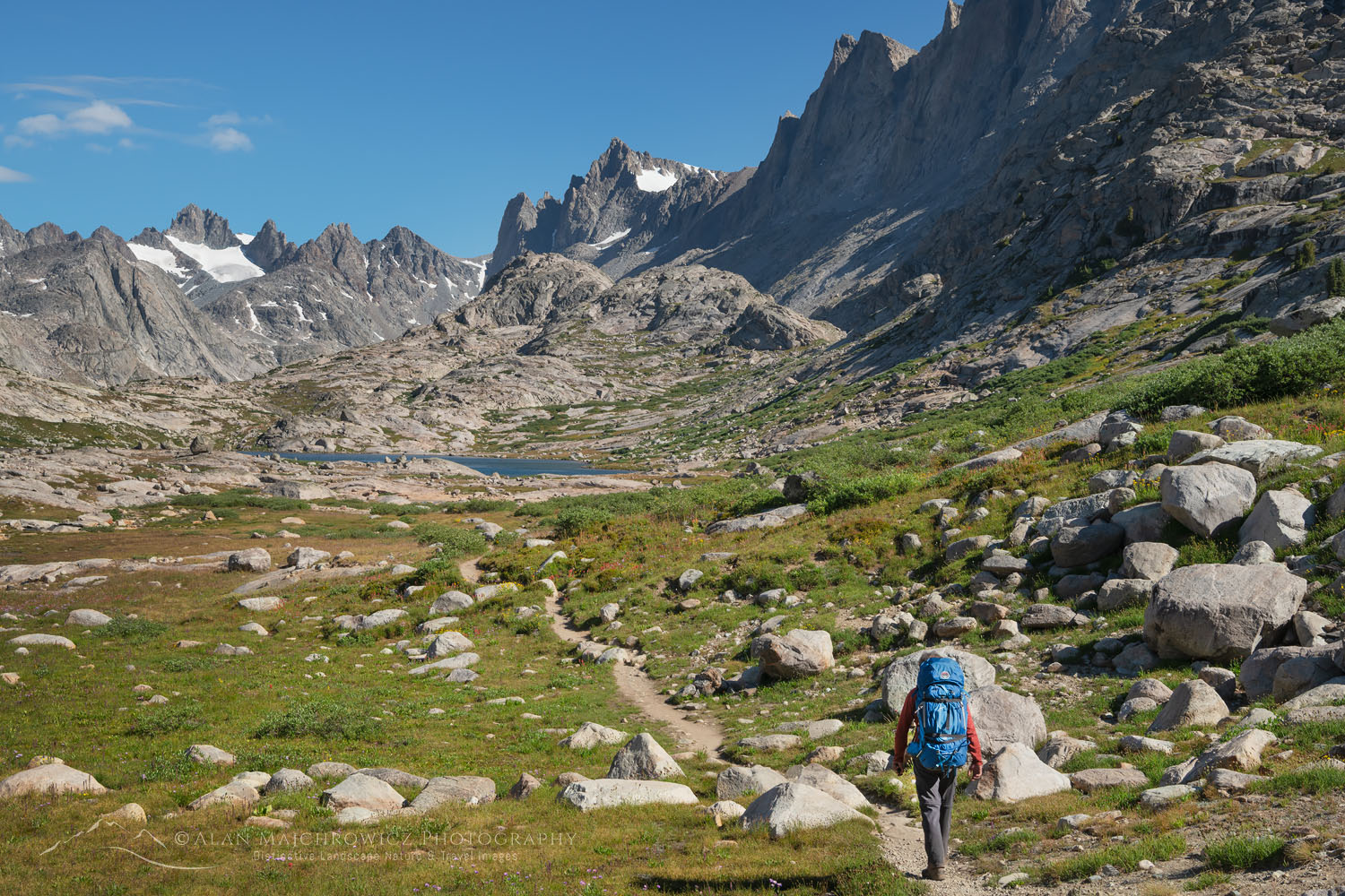 Backpacker on Titcomb Basin Trail Wind River Range Wyoming