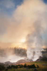 Sunrise at Mud Volcano geothermal area, Yellowstone National Park