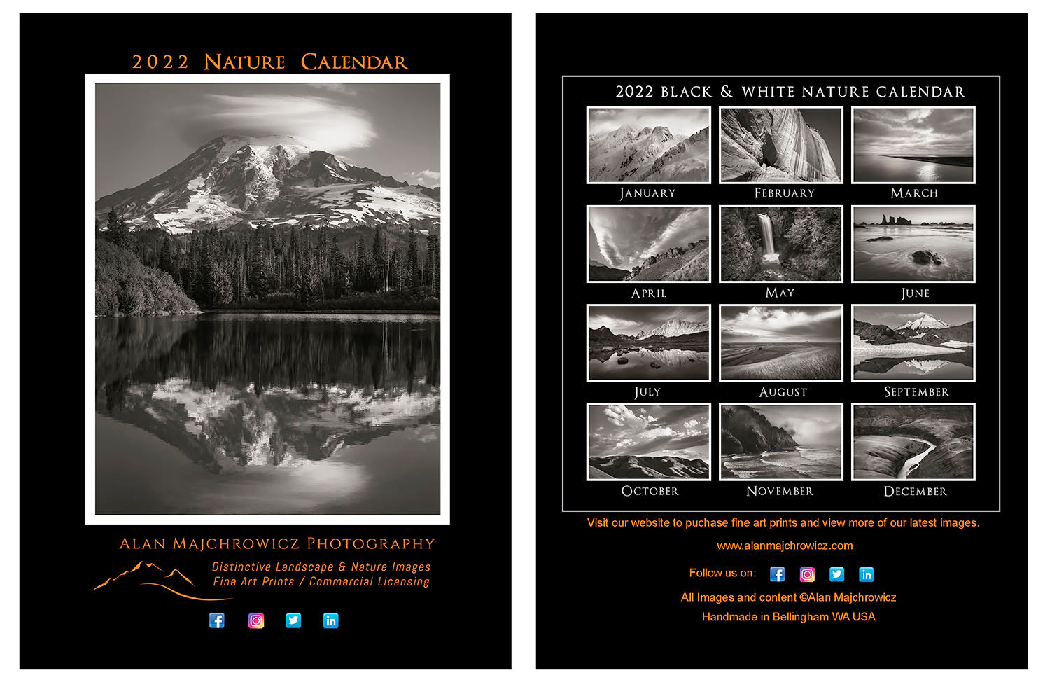 2022 B/W Desktop Nature Calendar. Presented in a CD jewel case it's perfect for offices, kitchen counters, and nightstands.