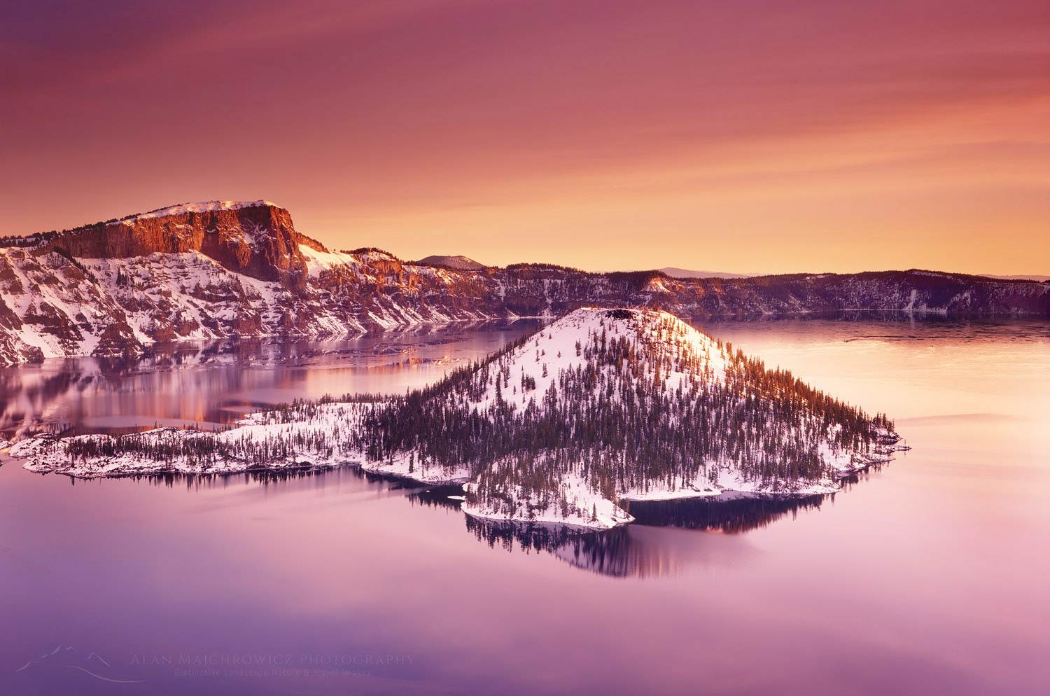 Winter dawn over Crater Lake and Wizard Island