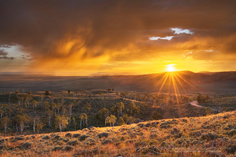 Sunset storm clouds Bridger-Teton National Forest Wyoming