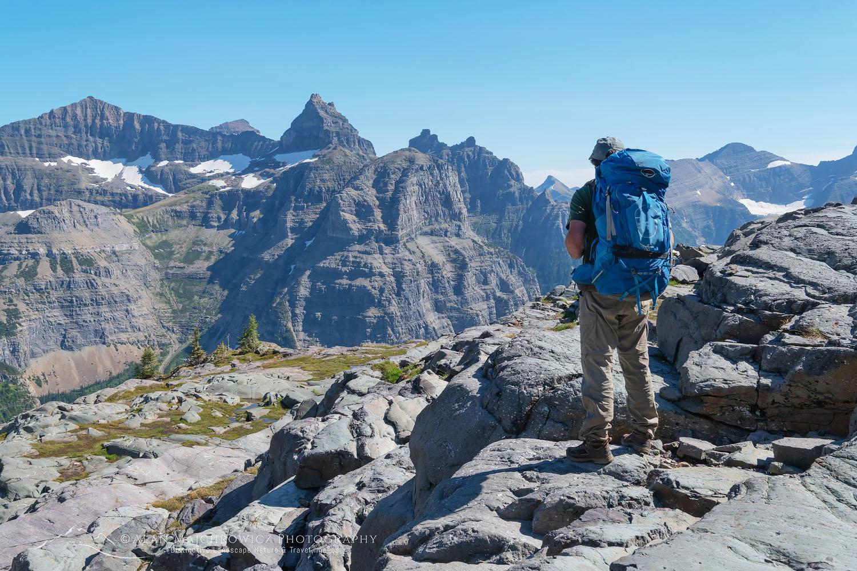 Backpacker at Boulder Pass Glacier National Park