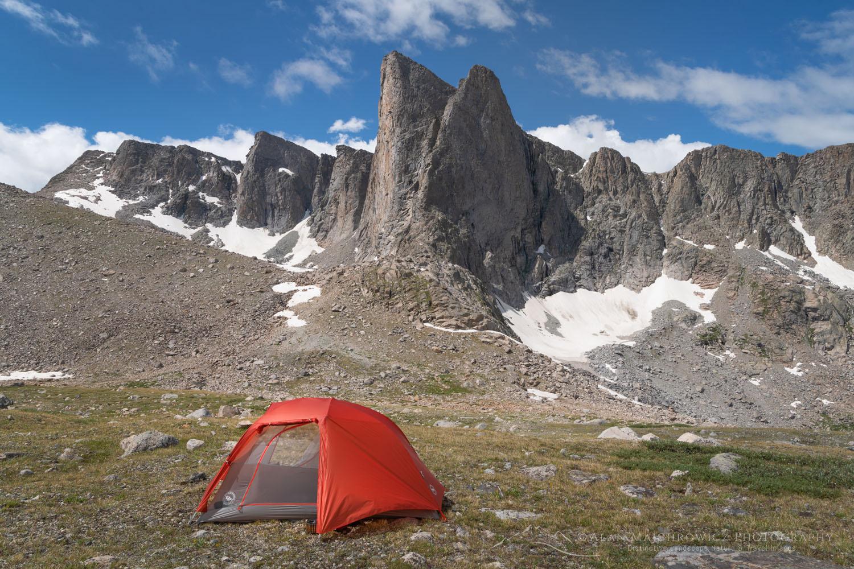 Backcountry camp below Pronghorn Peak. Bridger Wilderness. Wind River Range, Wyoming Central Wind River Range