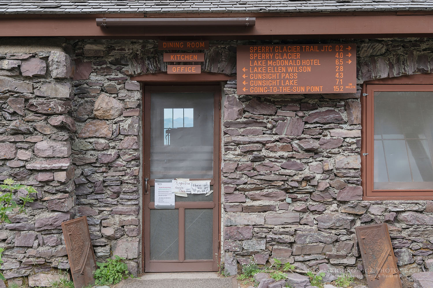 Sperry Chalet cookhouse entrance during Covid 19 Pandemic, Glacier National Park
