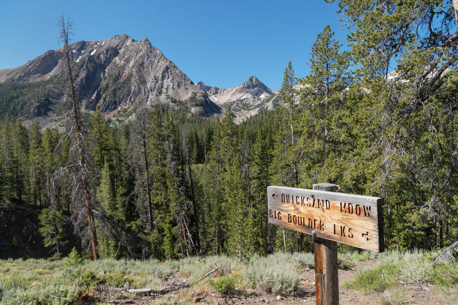 Trail sign, White Cloud Wilderness Idaho