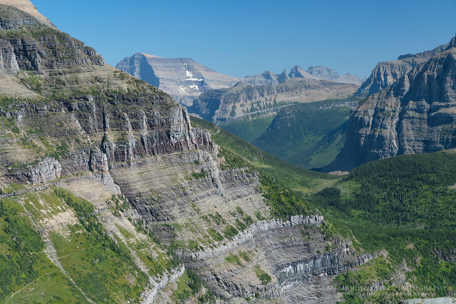 Exposed section of trail between Brown Pass and Hole in the Wall. Glacier National Park Montana