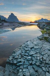Sunset over Kinnerly and Long Knife Peaks seen from Boulder Peak. Glacier National Park Montana